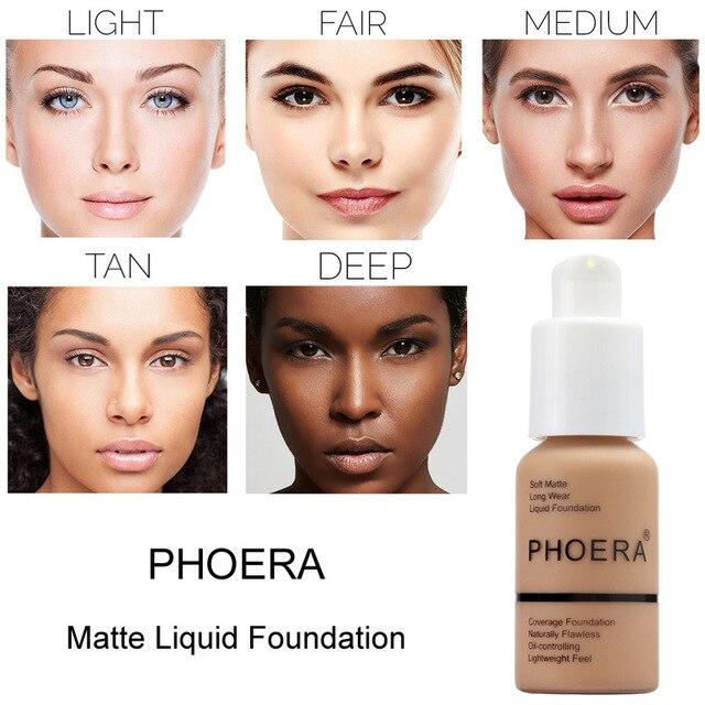 حار PHOERA الأساس مقاوم للماء الأساس ماتي سائل ماكياج الأساس غطاء كامل المخفي كريم maquillaje proesion TSLM1 3