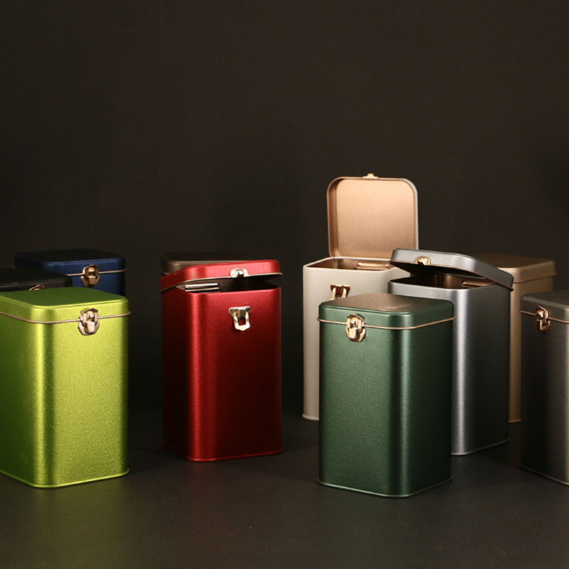 Solid Color Tinplate Tea Box Square Tin