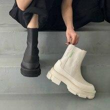 Botas femininas cor sólida calcanhar médio feminino martin botas fivela cinta moda dedo do pé redondo tornozelo retalhos quente