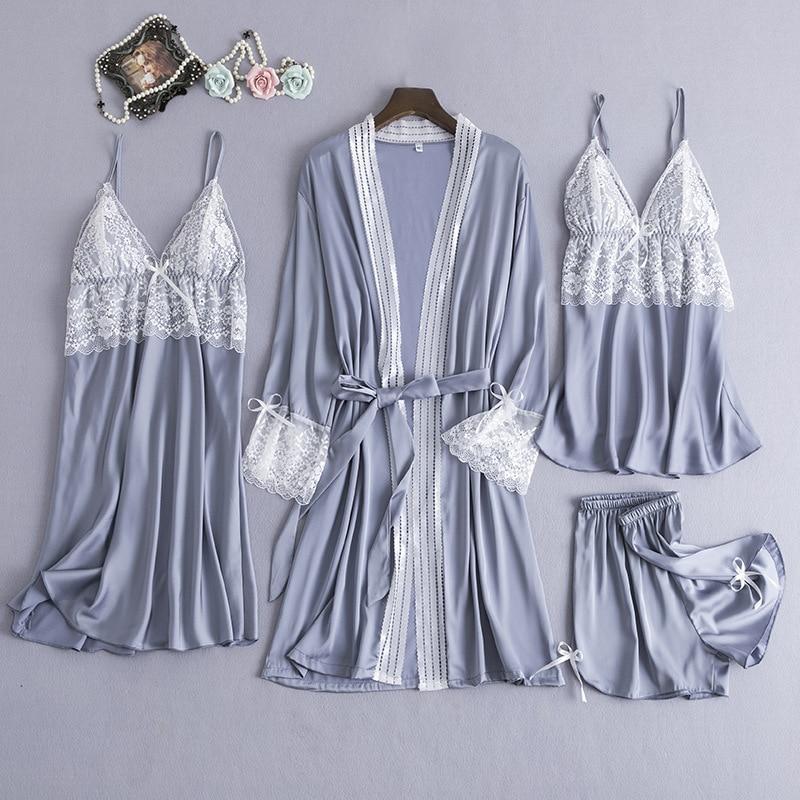 Women Rayon Satin Bridesmaid Kimono Bathrobe Dress Sexy Sleep Set Nightwear Sleepwear Casual Wedding Robe Intimate Lingerie