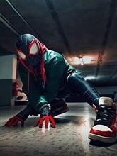Super-herói miles morales cosplay zentai traje macacão inspirado pelo teste padrão de aranha preta bodysuit macacões de halloween