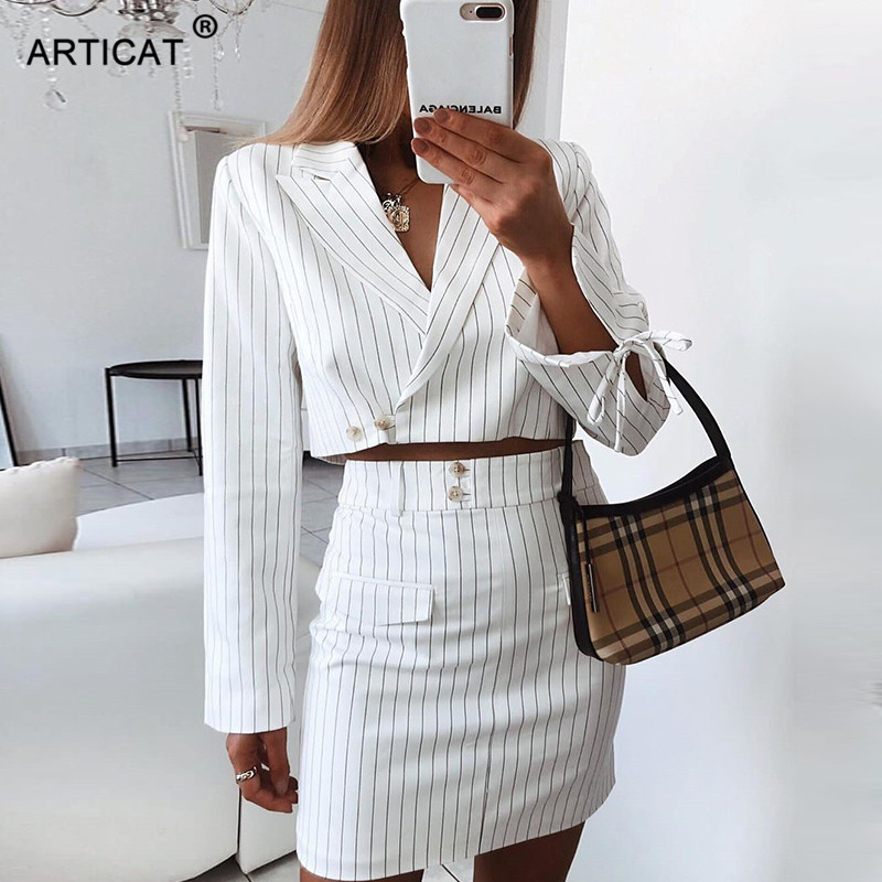 Articat Striped Women Two Pieces Set Dress Sexy Lace Up V Neck Crop Tops Dress Bodycon Elegant 2019 Autumn Female Office Wear