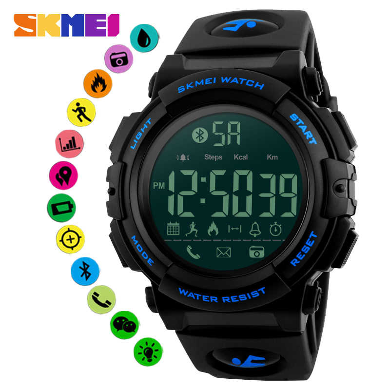SKMEI Outdoor Smartwatch Bluetooth Pedometer Calorie Call Remind Sport Watch Smart Watch Intelligent Wristwatch For Android IOS
