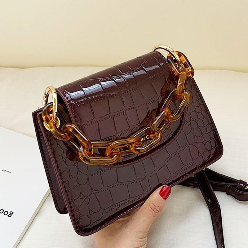 Crossbody Bags For Women Mini Lipstick Puse Fashion Messenger Shoulder Bag Leather Handbag Ladys Acrylic Chain Handle Bags Stone