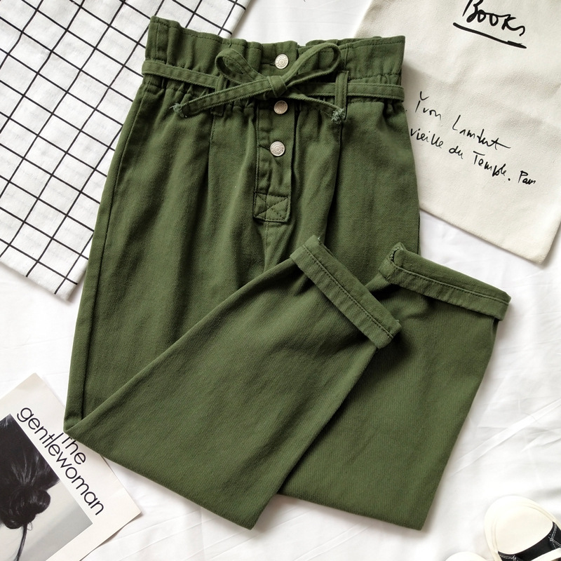 Korean-style CHIC Army Green High Waist Jeans Women's Bud Slimming Loose Harem Pants Simple Versatile Bandage Cloth Trousers