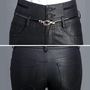 Image 5 - High Waist Skinny Leather Pants Women Black Autumn Casual Trousers Fashion PU Leather Button Sashes Pockets Biker Pencil Pants