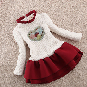 Image 2 - Children Girls Autumn Winter Cotton Velvet Flower Girls Dress Children Long Sleeved White A line Dress Children Girls Xmas Dress