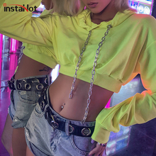 InstaHot Neon Hooded Crop Top Women Solid Cotton Chain Casual Hot Sale Sweatshirt 2019 Autumn High Street Hoodies Fahion New