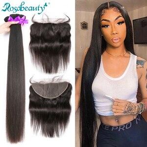 Rosabeauty прямые 28 30 дюймов 3 4 пряди с фронтальной кружевной бразильской 100% человеческие волосы плетение и закрытие ткет Бесплатная доставка