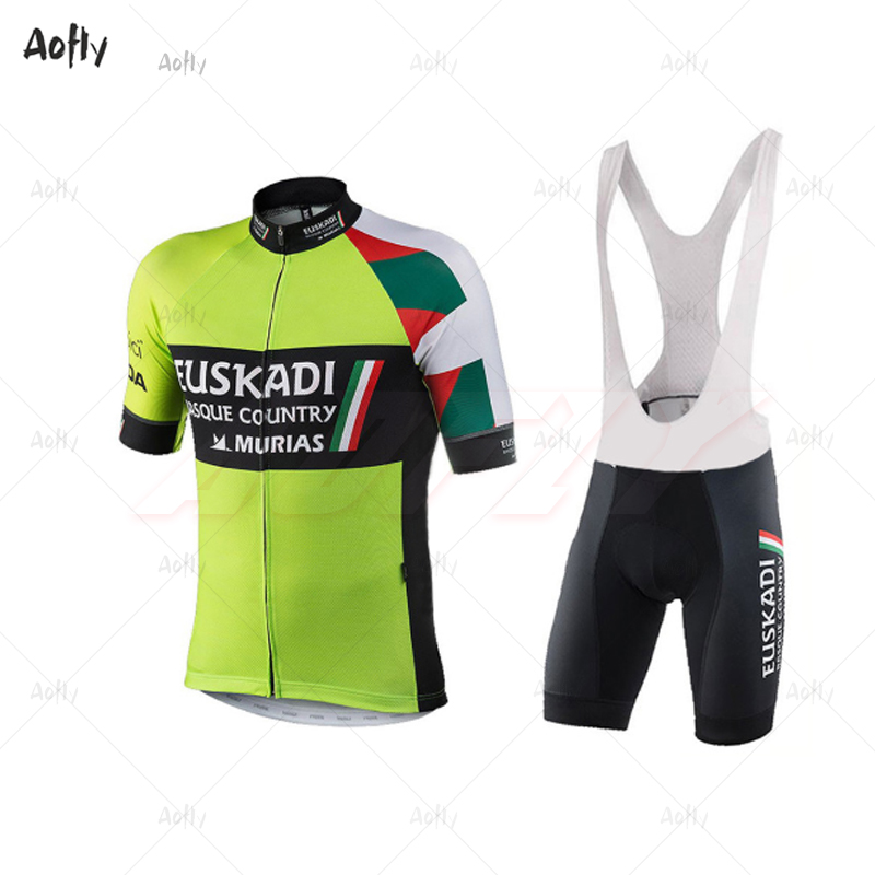 Fluorescent Green EUSKADI Man's Short Sleeve Cycling Jersey Sets 2020ropa Ciclismo Hombre Summer Go Pro MTB Bike 9D Bib Shorts