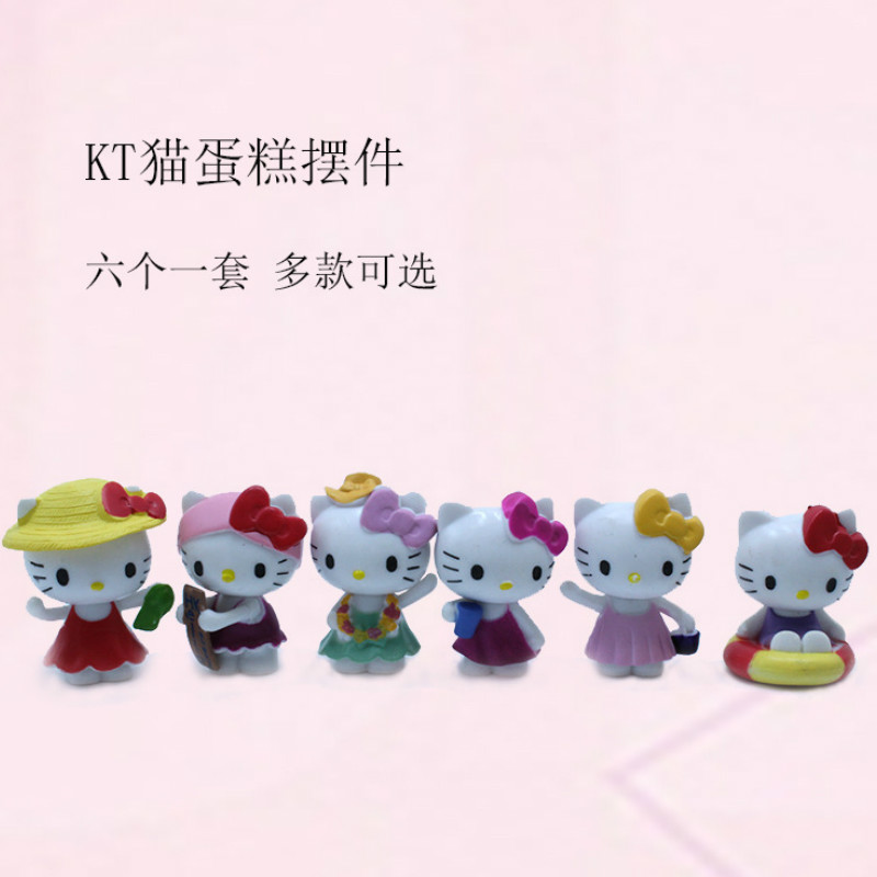 HelloKitty Action Figures Toys Model Cute KT Cat Doll Solid SceneCake Decoration Ornaments Cartoon Doll Girls Toy Children Gift