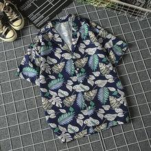 Summer Man Shirt Mens Ethnic Printed Stand Collar Cotton Linen Stripe Short Sleeve Loose Hawaiian Henley Shirt hawaiian shirt hollowed leaf printed hawaiian shirt