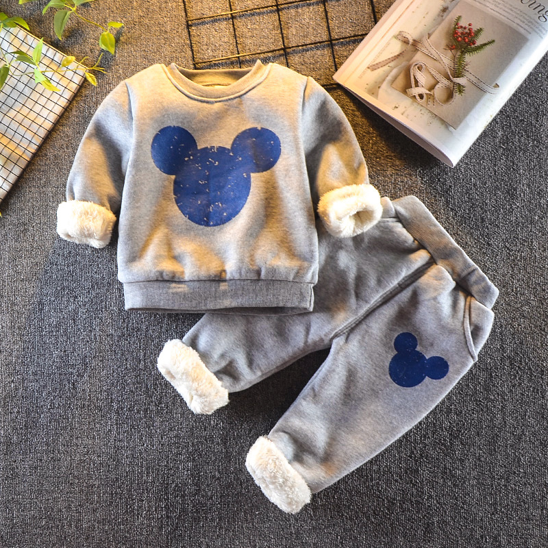 Baby Boys Girls Winter Clothing Set 2020 Toddler Kids Miki Outfits Children Fleece Warm Cotton Mouse Winter Clothes Costume Suit(China)