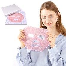 Охлаждающая маска для лица из Натурального Розового Кварца, нефрита для сна, массажная маска для лица с камнем, Антивозрастная аметистовая маска для лица для красоты и охлаждения и лечения