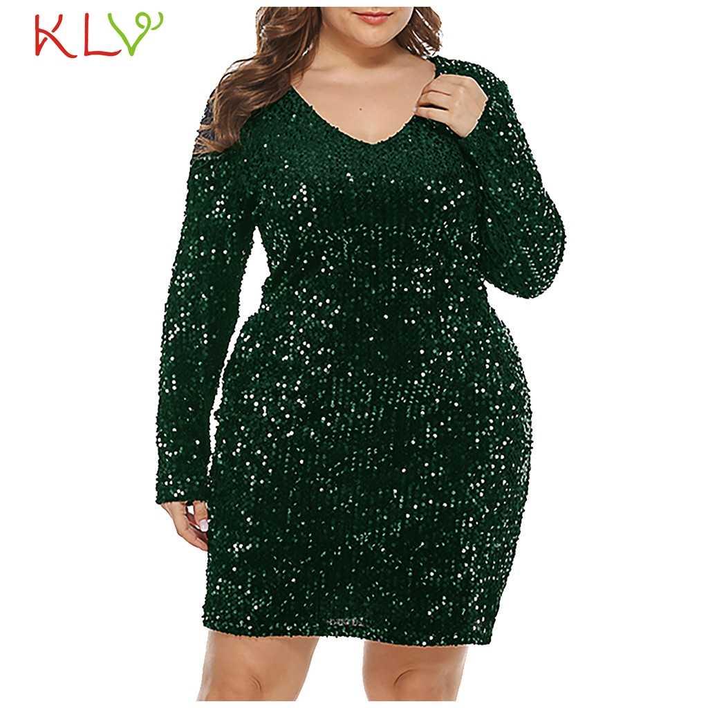 Pailletten Kleid Frauen Plus Größe Glitter Langarm Kleid Casual Party Mini  Kleider Elegante Designer Winter Kleidung Vestidos 9dec