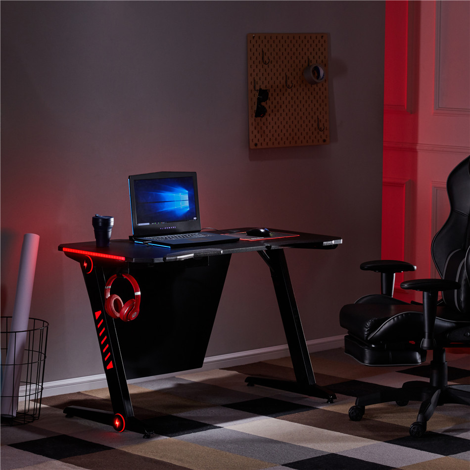 Gaming Desk Office PC Computer Gamer Desks With RGB LED Lights Headphone Hook For High Lever Gaming Immersive Experience