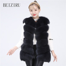 BEIZIRU Real Fur fox Vest Coat true hair women Natural warm