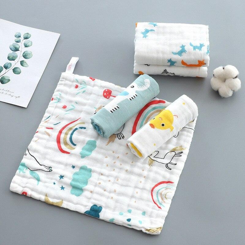 25X25CM Baby Six-layer Cotton Printed Small Square Scarf Cotton High-density Gauze Towel Newborn Nursing Square Towel Baby Wash