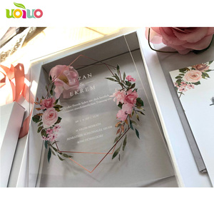 Image 4 - 10 sztuk przezroczysty akrylowy kartka z pudełko z nadrukiem niestandardowe akrylowe zaproszenie ślubne (inny przedmiot na zdjęciu wymaga dodatkowych kosztów)
