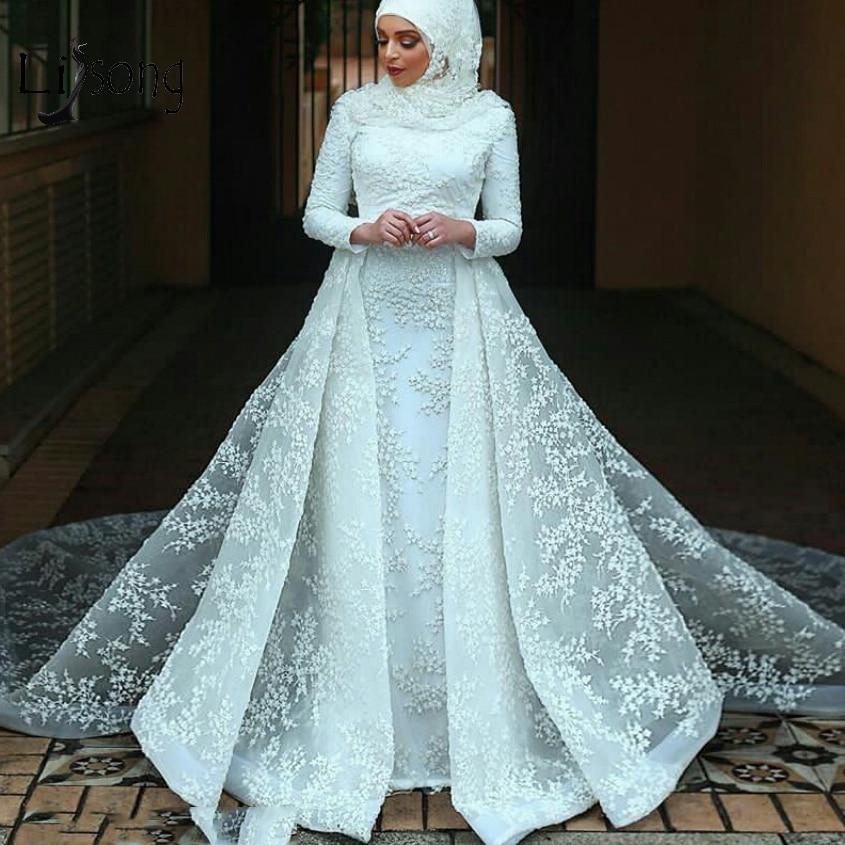 Vintage Muslim Lace Mermaid Wedding Dresses 2019 Detachable Train Full Sleeves Bridal Gowns High Collar Vestidos De Novia