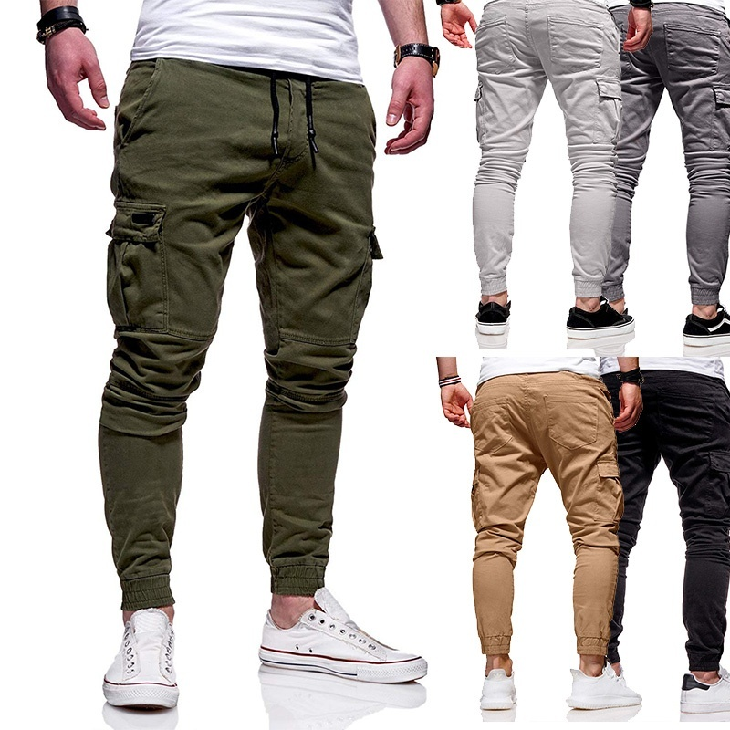 2020 Men Pants Joggers Casual Male Cargo Military Sweatpants Solid Multi-pocket Hip Hop Fitness Trousers safari Sportswear