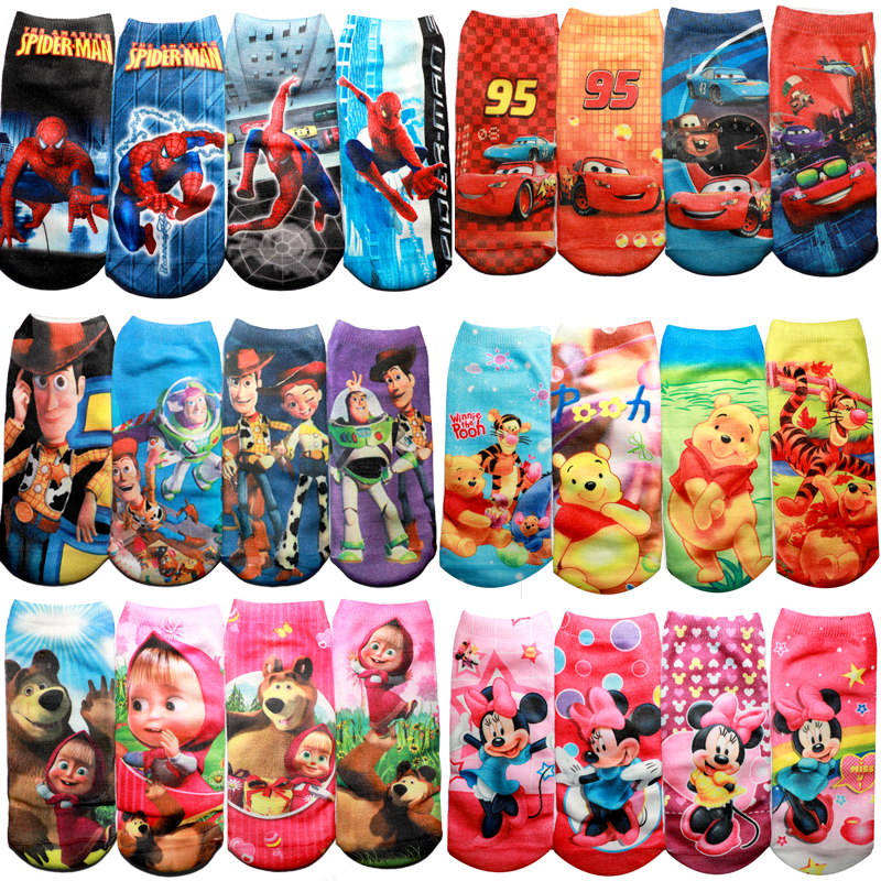 4pair/bag 2020 New 95 Cars SpiderMan Kids Winnie Socks Funny Micky Minne Cartoon 3D Print Princess Masha Boys Girls Socks