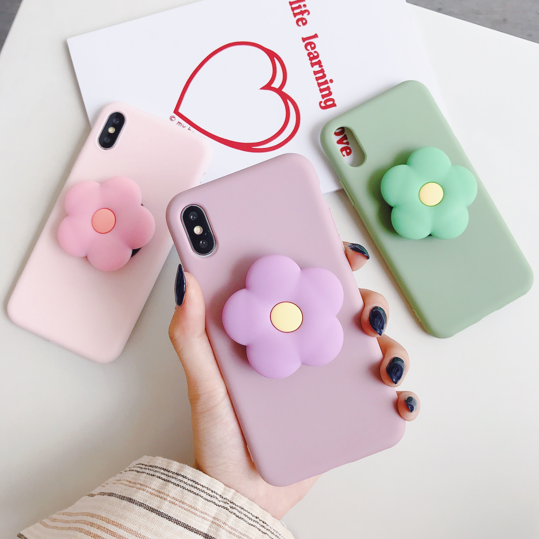 Cute flower Cartoon Soft phone case for iphone X XR XS 11 Pro Max 6 7 8 plus Holder cover for samsung S8 S9 S10 A50 Note 8 9 10