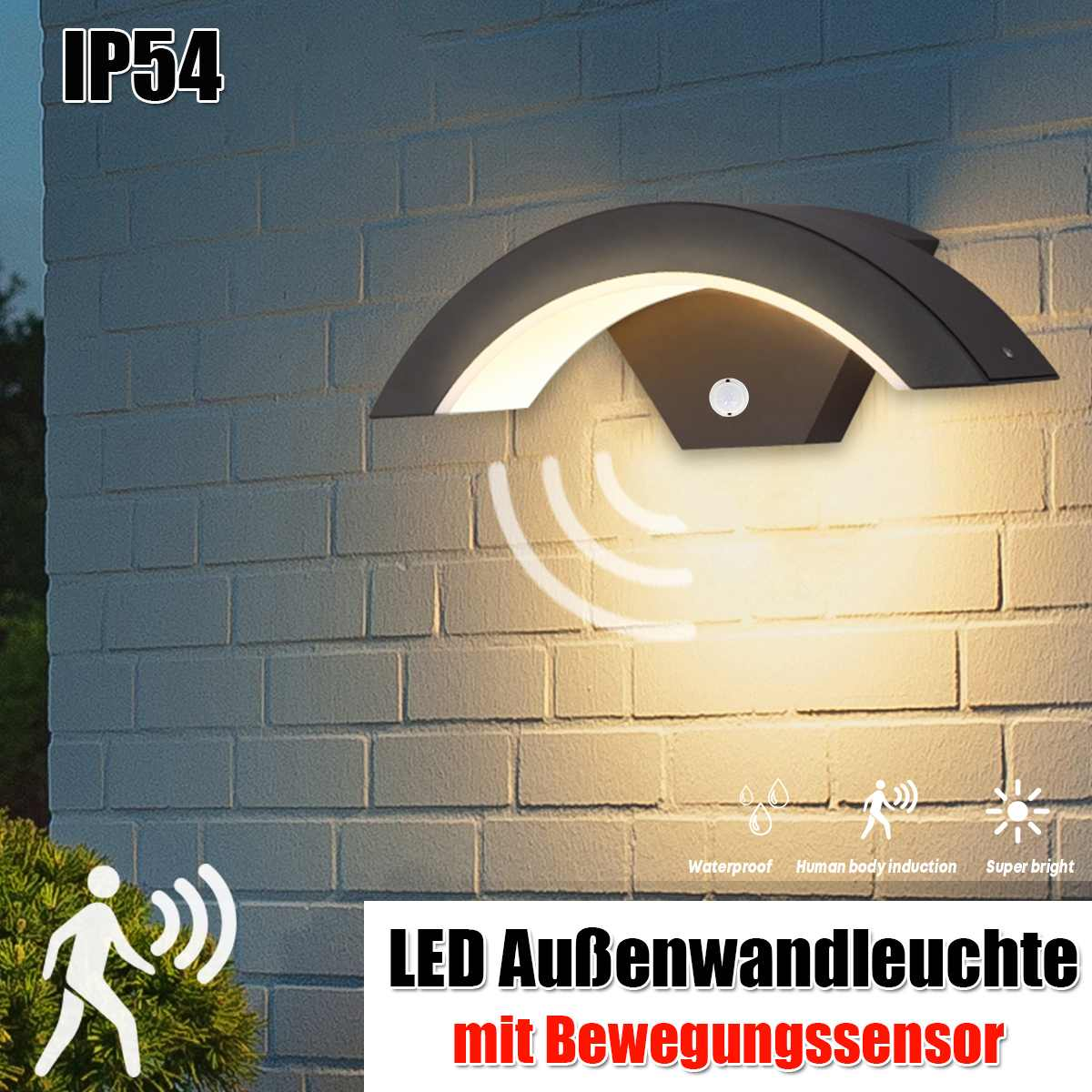 Outdoor Wall Light 15W Motion Sensor LED Wall Lamp Garden Yard Porch Outdoor Warm White Light Waterproof IP54 Weatherproof