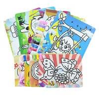 24 stücke sand kunst papier mit 6 farben tasche sand für kinder zeichnung spielzeug/Kinder cartoon sand malerei für kindergarten zeichnung spielzeug