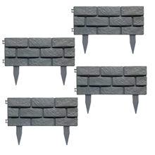 Clôture de jardin en plastique à épissure détachable, cadre de jardin en Imitation de pierre, effet Imitation brique, garniture de pelouse, clôture de cour pour Garde, 4 pièces
