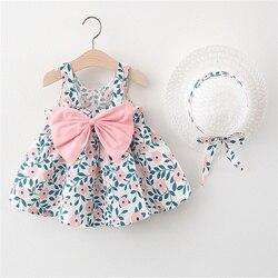 Летняя хлопковая повседневная одежда для маленьких девочек, комплект из 2 предметов, платье без рукавов с цветочным рисунком + шапочка для м...