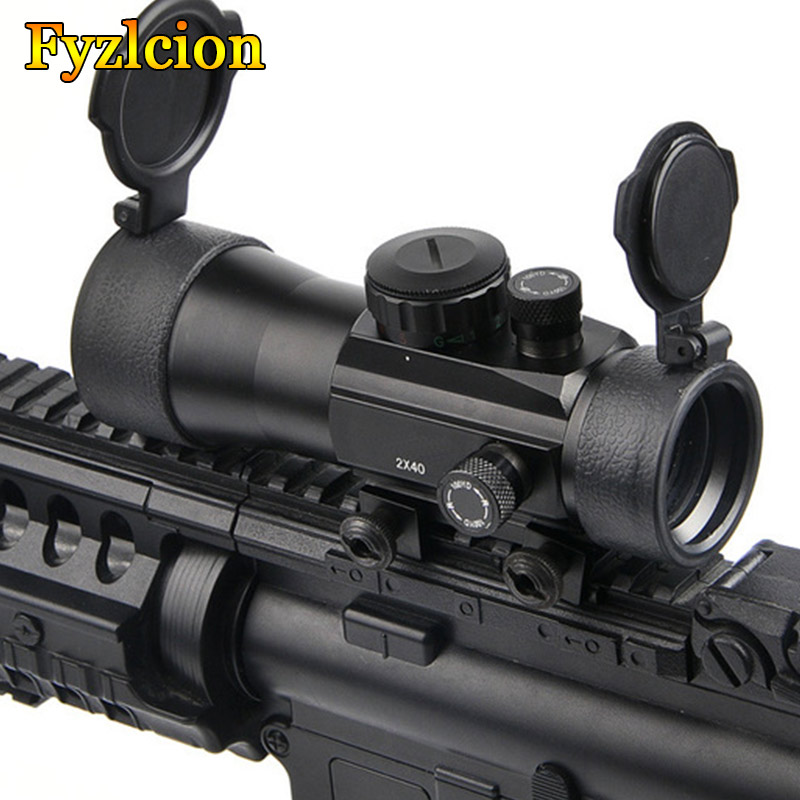 Hunting 2x40 Green Red Dot Sight Scope Tactical Optics Riflescope Fit 11/20mm Picatinny Rail Mount  Rifle Scopes