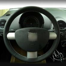 Black Leather Hand-stitched Car Steering Wheel Cover for Volkswagen Beetle 04-10 car hand stitched black leather steering wheel cover for toyota corolla 2006 10
