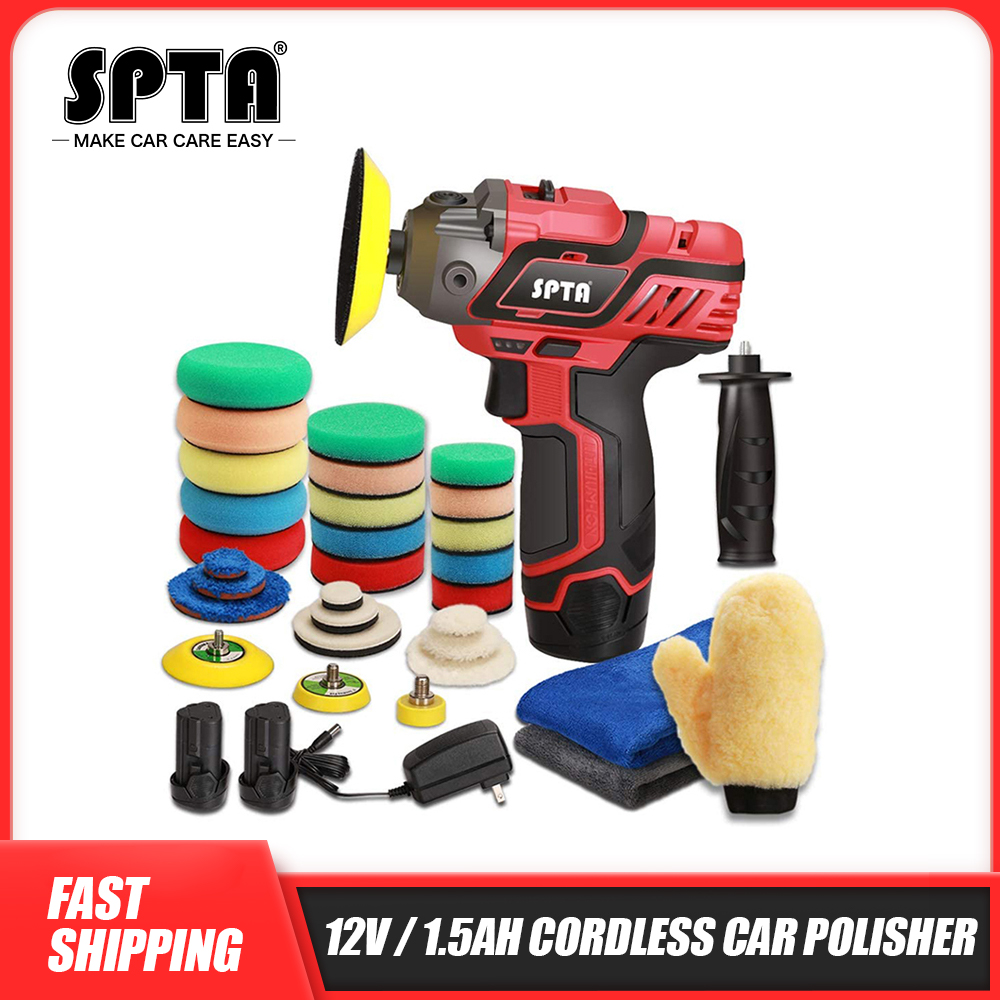 SPTA 12V Cordless Car Polisher Drill Driver Variable Speed Polisher With 1500mAh Li-ion Battery and Polishing Pads Accessories
