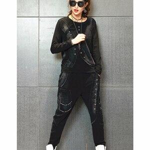 Image 3 - Max LuLu 2019 Autunno Coreano di Modo Dellannata Delle Signore A Due Pezzi Set Delle Donne Patchwork Magliette E Camicette Pantaloni Stile Harem Casual Tute Più Il Formato