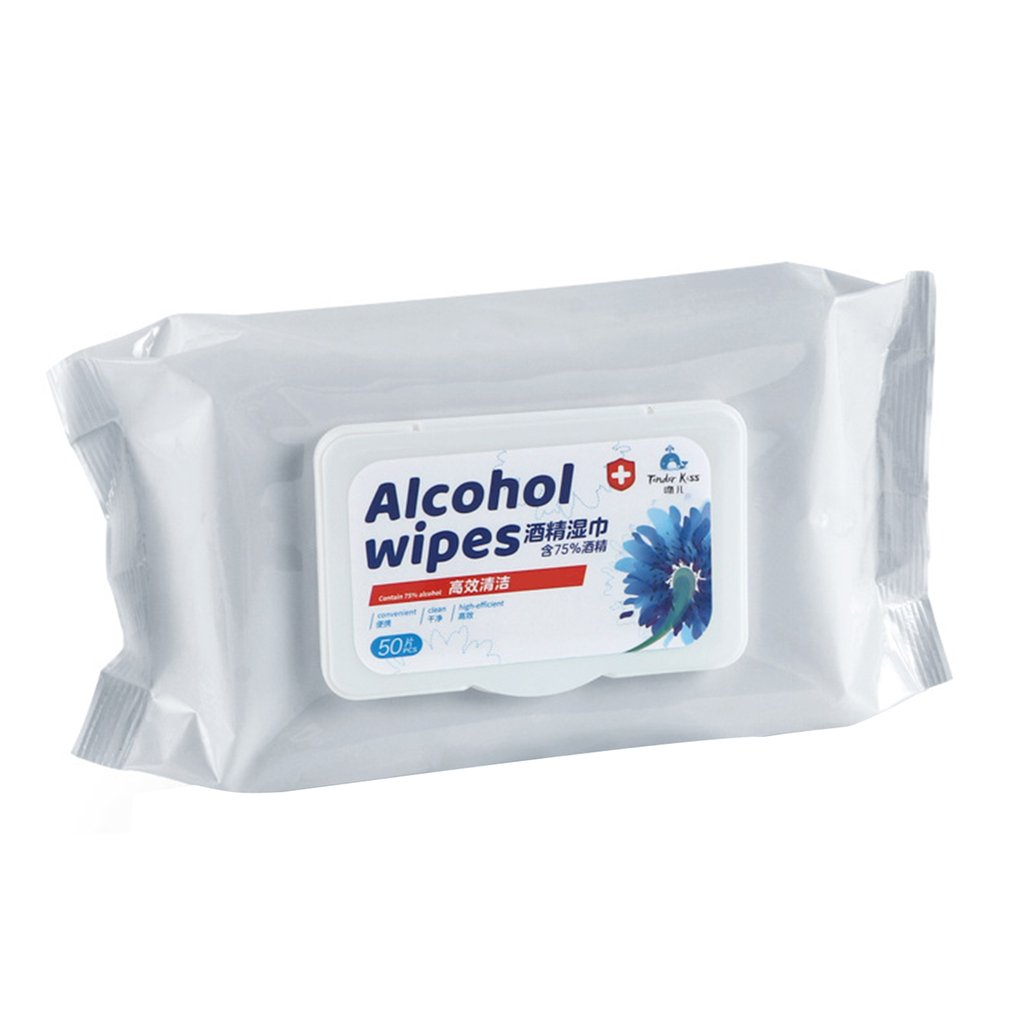 75% Disinfected Alcohol Wipes Alcohol Cotton Disposable Hand Wipe Anti-Bacteria Disinfection Wipes 50Pcs