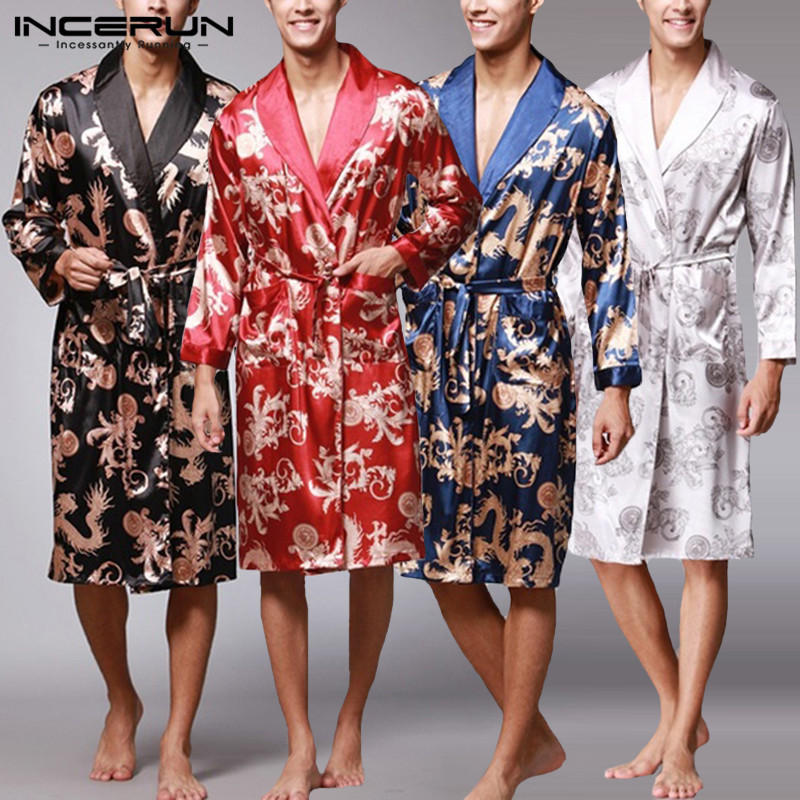 Kimono Robe Fashion Mens Bathrobe Silk Stain Long Sleeves Chinese Lucky Dragon Print Pajamas Bathrobe Masculina Dressing Gown
