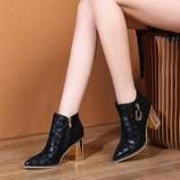 Pointed thick heel short boots 2019 fashion high heel boots children printed spring and autumn single boots sheep suede 7.5cm