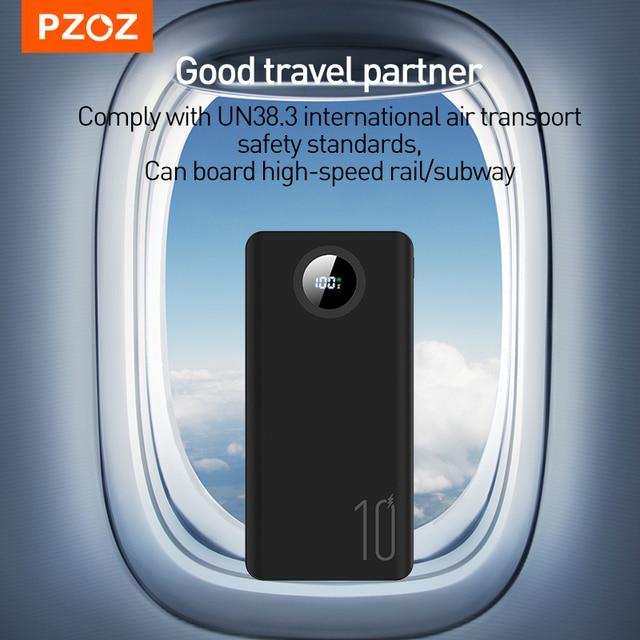 PZOZ 5A Power Bank 10000mAh Fast charging Mobile Phone External Battery Portable Charger 20000mAh PowerBank For iPhone Xiaomi Mi 5