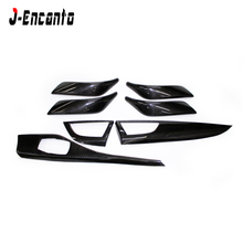 7 pcs For BMW 1 series F20 2 F22 F23 Carbon Fiber Interior Trim Only LHD Gloss Black Car interior stickers