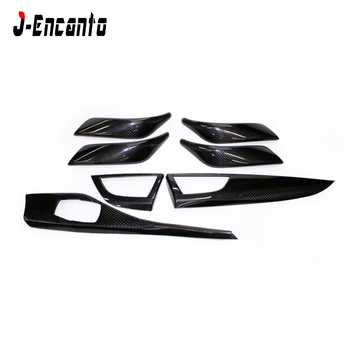 7 pcs For BMW 1 series F20 2 series F22 F23 Carbon Fiber Interior Trim Only LHD Gloss Black Carbon Trim Car interior stickers