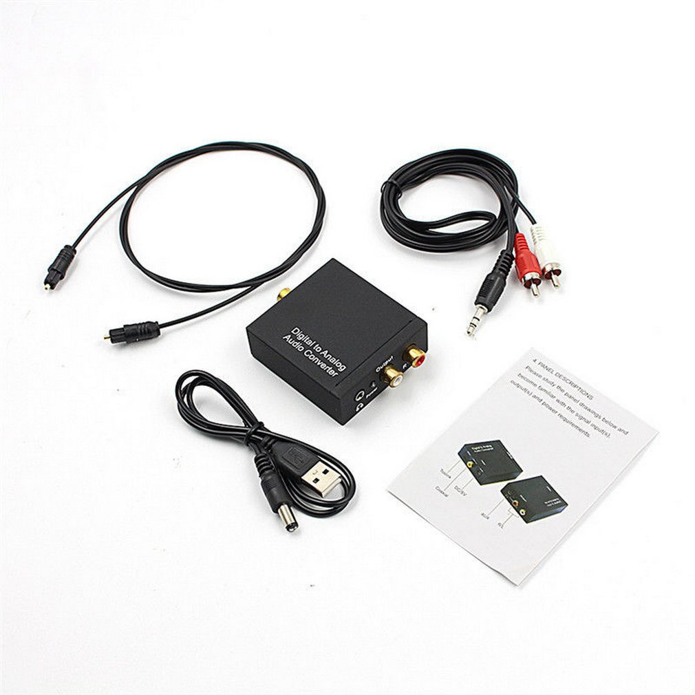 3.5mm Digital Coaxial Toslink Optical To Analog L/R RCA Audio Converter Adapt + Optical Fiber Cable
