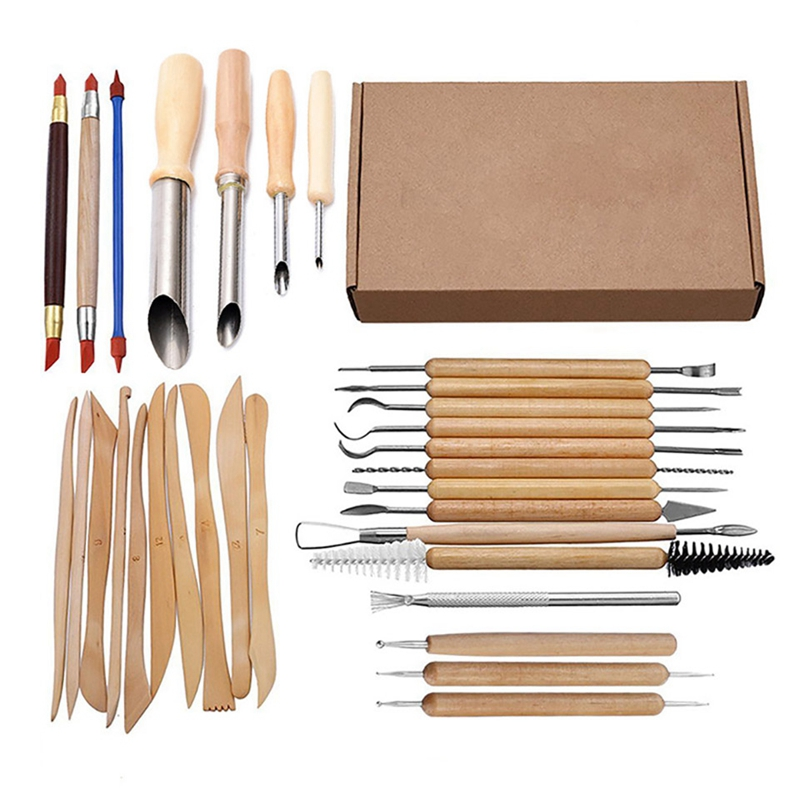 31Pcs Arts Crafts Clay Sculpting Tools Set Carving Tool Kit Pottery & Ceramics Wooden Handle Modeling Clay Tools