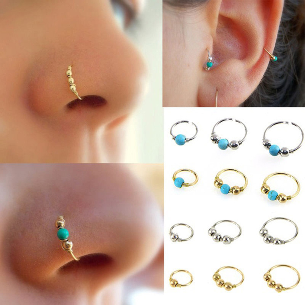 Retro Ethnic Drop Earrings With Stone Stainless Steel Nose Ring