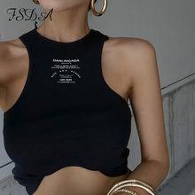 FSDA-Top corto estampado con letras para mujer, Top informal con hombros descubiertos en negro, básico, blanco, sin mangas, 2021