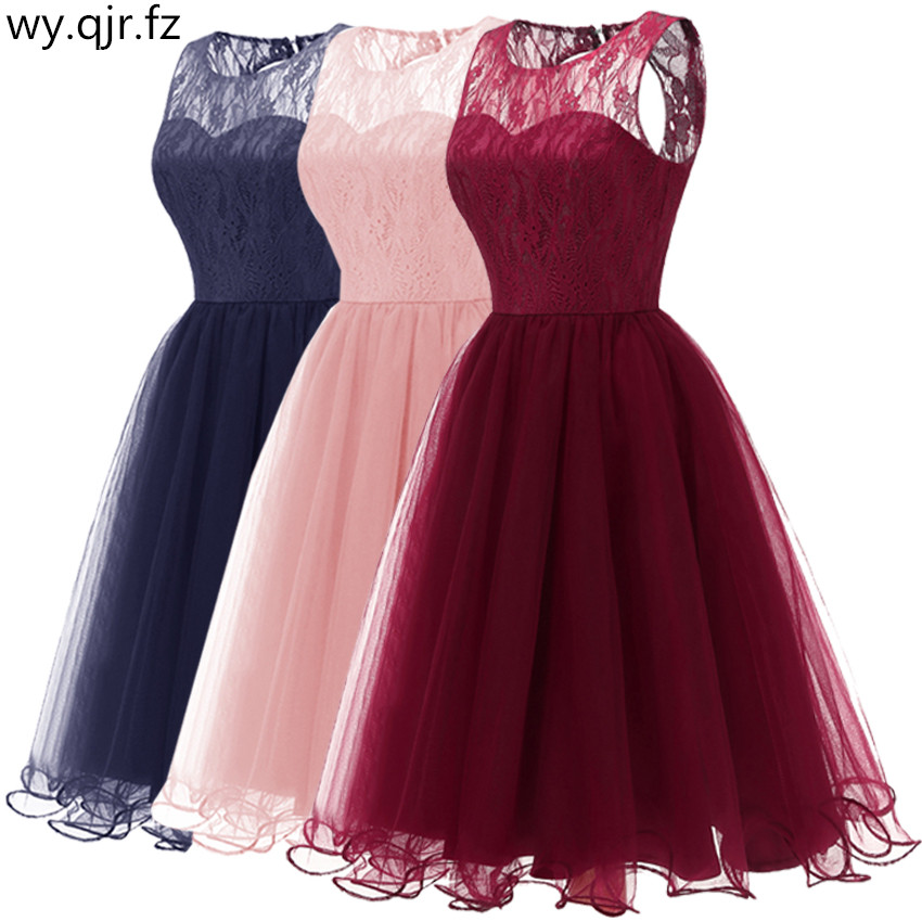 CD-074F#Short Bridesmaid Dresses Burgundy Pink Dark Blue O-neck Wedding Party Prom Dress Girls Cheap Wholesale Ball Gown Lace