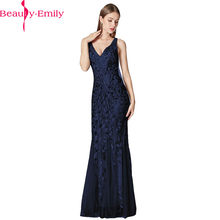 Beauty Emily Fashion Silver Appliques Tulle Mermaid Evening Dress 2019 Sexy V Neck Tank Sleeve Zipper Back Evening Dress Vestido(China)