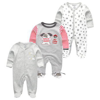 0-12Months Baby Rompers Newborn Girls&Boys 100%Cotton Clothes of Long Sheeve 1/2/3Piece Infant Clothing Pajamas Overalls Cheap - Baby Rompers RFL3116, 12M
