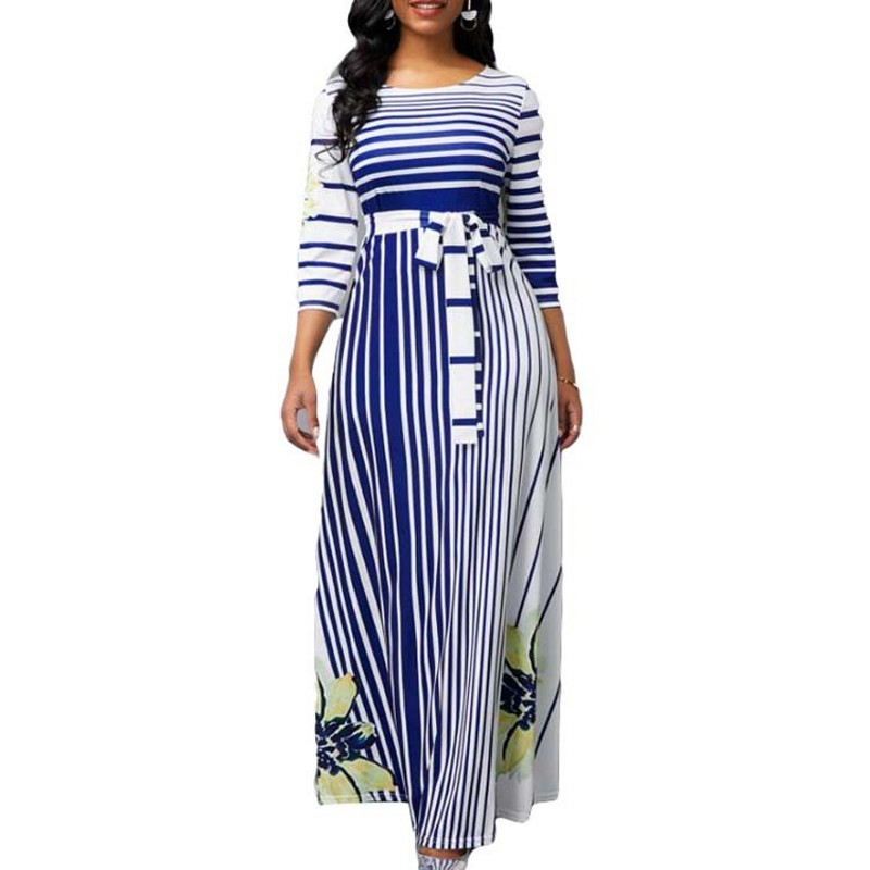 African Dresses For Women African Clothes Spring Summer Dress 2020 Casual Plus Size Slim Stripe Printing Ball Gown Maxi Dresses
