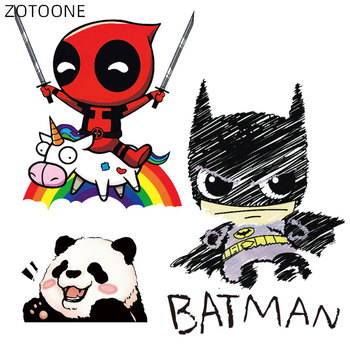 Iron on Cartoon Anime Patches for Kids Animal Patch for Clothing Bag Cute Bat Hero Bear Stickers DIY Heat Transfers Appliques H image